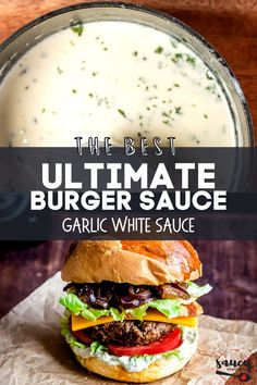 Our White Garlic Sauce uses just 6 ingredients for an easy sauce recipe you will want to use with everything from pasta to pizza! This deliciously creamy roasted garlic sauce is so flavorful and ready in less than 20 minutes. White Garlic Sauce, White Sauce, Easy Sauce Recipe, Sauce Recipes, Roasted Garlic, Pasta, Good Things, Burgers, Ethnic Recipes