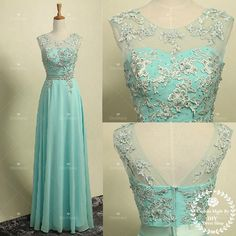 Round Neck Chiffon Skirt Formal Prom Dress,Tiffany Blue Zipper Back... ($139) ❤ liked on Polyvore featuring dresses, gowns, long sleeve gown, long sleeve dress, long sleeve ball gowns, long prom gowns and blue prom dresses