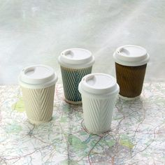 5011d3340c3 Coffee cup or ceramic travel mug with lid. White porcelain cups. Ceramic  travel cups