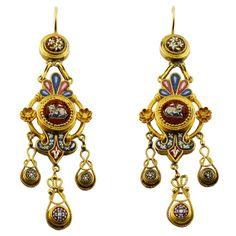 Micromosaic Earrings | From a unique collection of vintage chandelier earrings at http://www.1stdibs.com/jewelry/earrings/chandelier-earrings/