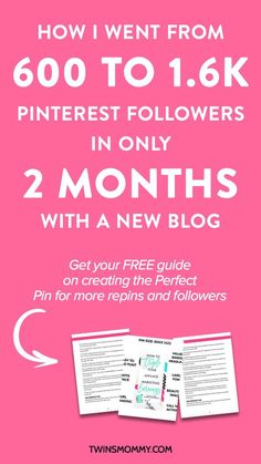 Month 2 Blog Growth Update: 1.6k Pinterest Followers Later – It's only been 2 months since I started growing my new blog Twins Mommy. I went from only having 600 Pinterest followers to over 1.6k in only 2 months. Click here to find out my month 2 mom to mompreneur blog growth update.