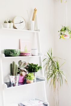 Fall For DIY glammed up this old ladder by painting it white and adding contact paper. The end result: A pretty, minimal series of shelves that are an ideal backdrop for her collection of succulents and chic knickknacks. See more at Fall For DIY »   - HouseBeautiful.com
