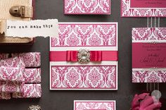 Opulent raspberry red Wedding Stationery ideas. How to make your own wedding stationery. Make Invitations, RSVP, favours, place cards, order of service and menu covers and more.