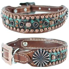 A brown and turquoise Western Leather Dog Collar featuring Swarovski crystals, studs and copper conchos​. For medium to large dogs.
