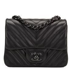 Chanel Mini Flap So Black Chevron Bag #chanel