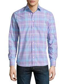 Check Long-Sleeve Sport Shirt, Multi, Women's, Size: 39 - Etro