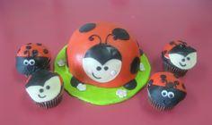 Lady bug smash cake and baby cupcakes