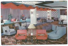 Hotel Evans - Loch Sheldrake, New York -- Grey, red, mod lamps: the 50s.