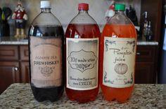 Harry Potter: rótulos para garrafas de refrigerantes