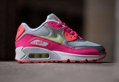 Nike Air Max 90 GS - Pure Platinum / Liquid Lime / Pink