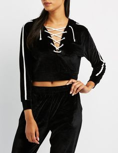 Charlotte Russe Velour Lace-Up Cropped Hoodie