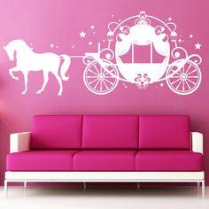 Popular Prinzessin Cinderellas Kutsche mit Pferd als Wandtattoo f rs Kinderzimmer wall tattoo with cinderellas carriage by