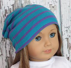 "Trendy 18"" American Girl Doll Clothes from Silly Monkey - Turquoise Knit Slouch Hat with Purple Stripes, $1.99 (http://www.silly-monkey.com/products/turquoise-knit-slouch-hat-with-purple-stripes.html)"