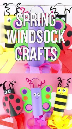 Make these cute spring windsock crafts with preschoolers and elementary age children to celebrate spring! Learn how to make three different insects: A butterfly, ladybug and bee. Visit our website for more fun and easy spring crafts for kids. Source by Insect Crafts, Bee Crafts, Easter Crafts, Ladybug Crafts, Wood Crafts, Spring Crafts For Kids, Diy Crafts For Kids, Kids Diy, Creative Crafts