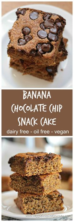 Banana Chocolate Chip Snack Cake - a cross between a quick bread and a cake and healthy! Super easy too!