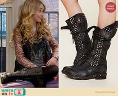 Maya's AC/DC top, studded leather vest and studded lace-up boots on Girl Meets World Fashion Tv, School Fashion, Girl Fashion, Fashion Clothes, Studded Combat Boots, Studded Leather, Leather Vest, Colourful Outfits, Cool Outfits