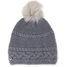 UGG Cable-Knit Beanie w/ Pompom ($69) ❤ liked on Polyvore featuring accessories, hats, steel, pompom hat, pom pom hat, ugg, fitted hats and oversized pom pom beanie