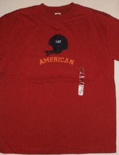 New Gap Red Football T-Shirt with Helmet Boys Sz 10 FREE Shipping