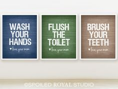 Love Mom Bathroom Prints - 8x10 - Set of 3 - You CanChoose Color - Navy Blue, Taupe, Forrest Green - Modern Posters. $36.00, via Etsy.