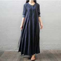 Women winter and autumn cotton linen  long sleeve loose dress - Buykud- 1