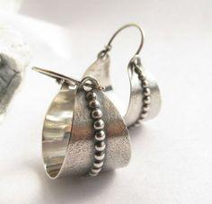Sterling Silver Basket Earrings - Argentium Silver Hoop Earrings - Silversmith Jewelry - Basket Hoops on Etsy $96.00 #SterlingSilverHoops