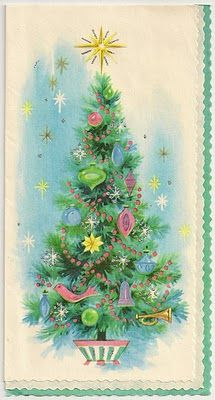 Free Printable Vintage Christmas Card - Pastel Tree - from my personal collection