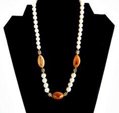 Vintage Japan White & Tan Goldtone Bead Necklace by ediesbest, $10.95