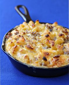Breakfast mac & cheese -- made with sweet breakfast sausage, onions, peppers, eggs and biscuit pieces