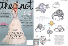 ArtCarved pear shaped engagement ring featured in The Knot Spring 2015 issue. #ArtCarvedBridal #TheKnot