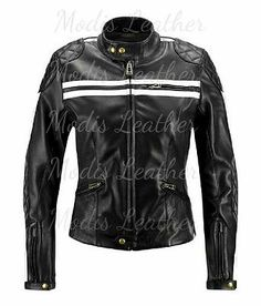New Ladies Quilted Ripped Stripes Scuba SlimFit MC Bomber Biker Leather Jacket