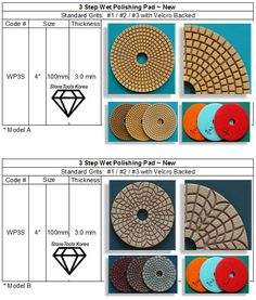 3 Step Wet Polishing Pad  For Granite & Marble, Deliver to door-front worldwide within 2 days to the USA ~ 5 days to Europe for regular repeat orders. #countertops #granite #marble #fabrication #StoneTools #DiamondTools #3steppad  Wet Use on Granite & Marble * Pressure : 1 - 5kg/㎠ * RPM : 3,500-4,500 Engineered Stone, Granite, Countertops, Repeat, Marble, Stones, Vanity Tops, Rocks, Counter Tops