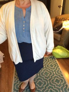 Ivory Cardigan, Chambray Tunic and Navy Blue Pencil Skirt