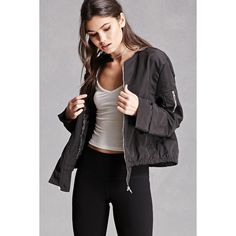 Forever21 Zippered Bomber Jacket (125 AED) ❤ liked on Polyvore featuring outerwear, jackets, black, long bomber jacket, blouson jacket, bomber style jacket, flap jacket and woven bomber jacket