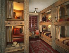 like rustic design of bunks - metal railing on top bunks - wont do curtains - want drawers underneith beds