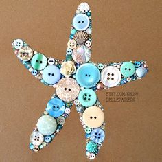 "8x10 Button Art Starfish Button Art & Swarovski by BellePapiers ~ ""I use genuine Swarovski Crystal Rhinestones & high quality buttons, both new and vintage. I also use various embellishments to make your custom piece totally unique. My button art pieces are incredibly detailed, have crisp edges, and will last for generations to come!"""
