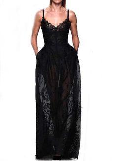 Chic Solid Black Strap Design Woman Maxi Dress | Rosewe.com