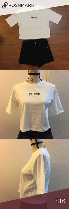 ✨Brand New LOVE character Crop Tee✨ Brand new in packaging. Beautiful and good quality cotton material. I ship within 1-2 business days. Unbranded. Tagged for exposure. tags: brandy melville unif dollskill asos boohoo urban oufitters silence and noise pacsun adidas nike american apparel grunge 90s jeffrey campbell goth gothic punk skateboard y2k 000s street style gingham kfashion Topshop Tops Tees - Short Sleeve