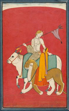 Shiva and Parvati riding their Vehicles Nandi the Bull and the Devi's Lion. Chamba, c. 1780-90