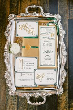 Old Hollywood glam wedding invitations // photo by Artiese