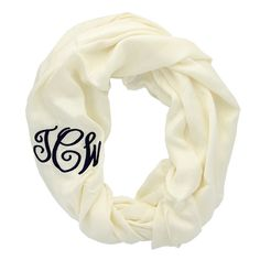 Ivory Monogrammed Infinity Scarf