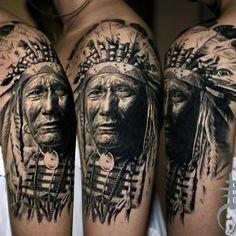 Native american chief tattoo black and gray tattoos tattoos,