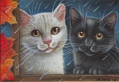 White & Black Kitties - Fall Painting