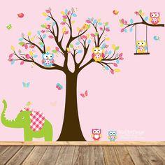 Vivero búho árbol de la etiqueta con elefante de por wallartdesign