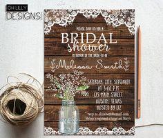 Rustic Bridal Shower Invitation Printable, Lace Bridal Shower Invitation, Fall Bridal Shower, Mason Jar Bridal Shower, Digital File