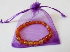 Red Carnelian Beaded Stetch Bracelet, Orange Gemstone Bracelet, Semi- precious bracelet jewelry, Yoga meditation Bracelet Hand made bracelet by DHANAjewelry on Etsy