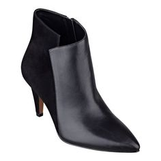"""It's true. Pointed toe booties are going fast. They're one of this season's hottest shoes. We especially love this simply elegant style. It will go with virtually anything in your closet. Seriously. Full side zip for easy on/off. Padded footbed for all-day comfort. Leather upper. Man-made lining and sole. Imported. 2 3/4"""" mid heels."""
