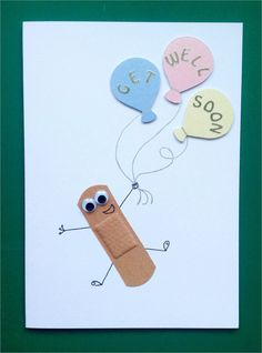 Child's get well soon card. Handmade get well soon cards. Get well soon cards. Plaster get well cards. Bandaid get well cards Tarjetas Diy, Diy And Crafts, Paper Crafts, Card Crafts, Karten Diy, Get Well Cards, Get Well Gifts, Cute Cards, Cards Diy