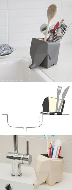 Elephant cutlery and toothbrush holder that drains into the sink.