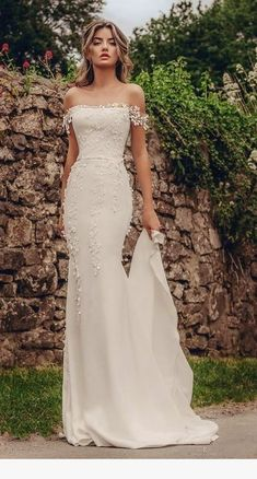 stephanie allin 2019 bridal off the shoulder straight across neckline heavily em. - - stephanie allin 2019 bridal off the shoulder straight across neckline heavily embellished bodice elegant fit and flare wedding dress mid back chapel t. Fit And Flare Wedding Dress, Dream Wedding Dresses, Fitted Wedding Dresses, Trumpet Wedding Dresses, Mermaid Gown Wedding, Wedding Dresses With Color, Vintage Wedding Dresses, Straight Wedding Dresses, Wedding Dress Shapes