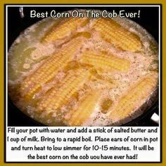 Corn on the cob New Recipes, Favorite Recipes, Ears Of Corn, Incredible Recipes, Salted Butter, Vegetable Recipes, Side Dishes, Food And Drink, Meals